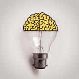 Bombilla con el cerebro dibujado mano Fotografía de archivo