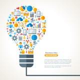 Bombilla con el modelo de los iconos del negocio ilustración del vector