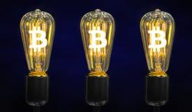 Bombilla con el símbolo de Bitcoin imagen de archivo