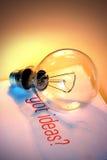 Bombilla con ideas conseguidas Fotografía de archivo