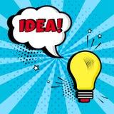 Bombilla con la burbuja cómica blanca con el IDEA en fondo azul Efectos sonoros cómicos en estilo del arte pop Ilustración del ve ilustración del vector