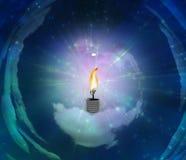Bombilla con la llama ilustración del vector