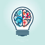 Bombilla creativa Brain Idea Icon izquierdo y derecho ilustración del vector