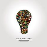 Bombilla creativa con la red colorida Foto de archivo libre de regalías