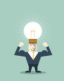 Bombilla creativa del hombre de negocios con símbolo de la cabeza humana stock de ilustración