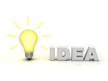 Bombilla de la idea con idea de la palabra stock de ilustración