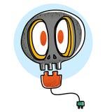 Bombilla del cráneo de la historieta ilustración del vector