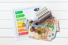 Bombilla del LED con la etiqueta y el euro de la energía Imagen de archivo libre de regalías