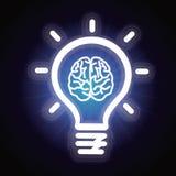Bombilla del vector e icono del cerebro Fotografía de archivo