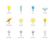 Bombilla e iconos de la lámpara de CFL en el fondo blanco Imagen de archivo libre de regalías