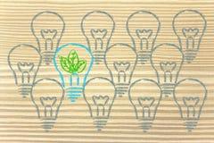 Bombilla única con las hojas dentro, metáfora de la economía verde Fotografía de archivo libre de regalías