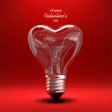 Bombilla - tarjeta del día de San Valentín del corazón Imágenes de archivo libres de regalías