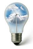 Bombilla verde de la energía de Eolic Foto de archivo libre de regalías