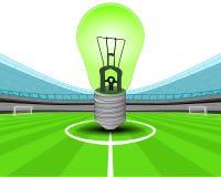 Bombilla verde en el medio campo del vector del estadio de fútbol Foto de archivo libre de regalías