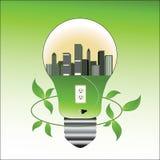 Bombilla y ciudad ambientales del concepto stock de ilustración