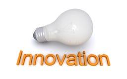 Bombilla y palabra de la innovación Imágenes de archivo libres de regalías