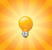 Bombilla y resplandor solar Ilustración del Vector