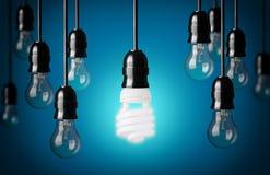 Bombillas ahorros de energía y simples Imagen de archivo libre de regalías