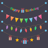 Bombillas del feliz cumpleaños del partido stock de ilustración