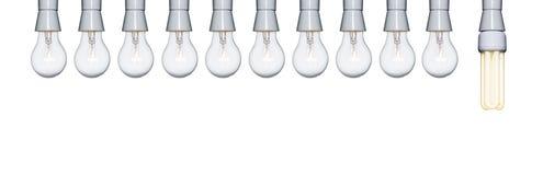 bombillas diez a una Imágenes de archivo libres de regalías