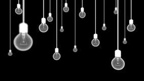 Bombillas en fondo negro Imagen de archivo libre de regalías