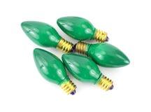 Bombillas verdes de la Navidad Foto de archivo libre de regalías