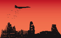 Bombing of the city. The aircraft dropped bombs over the destroyed city. Vector illustration Royalty Free Stock Image