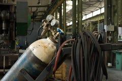 Bombola per gas e manometro Fotografia Stock Libera da Diritti