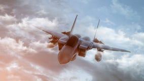 Bombowiec latanie na tle niebo 3 d czyni? royalty ilustracja