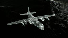 Bombowiec latanie w niebie Wireframe 3d animacja royalty ilustracja