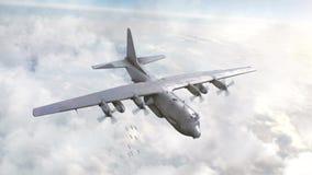Bombowiec opuszczać bomby w niebie 3D animacja ilustracja wektor