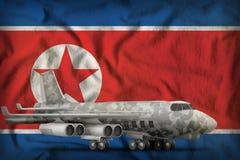 Bombplan med stadskamouflage på bakgrunden för Demokratiska Folkrepubliken Korea Nordkorea statflagga illustration 3d Royaltyfri Fotografi