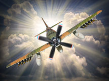 Bombplanattack Arkivfoto