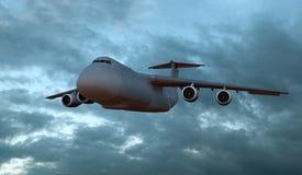Bombplanflygplan som flyger ovannämnda moln, tolkning 3D vektor illustrationer