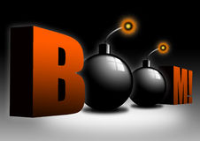 Bombs. 3D Illustration with two glossy bombs Royalty Free Stock Image