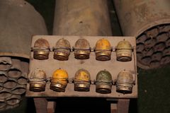 Bombs in Cu Chi tunnels. Closeup of old bombs in Cu Chi Tunnels, Vietnam Stock Photography