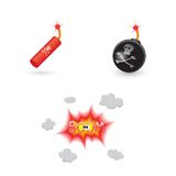 Bombs and explosion icons Royalty Free Stock Photo
