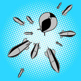 Bombs falling from sky pop art vector. Bombs falling from sky pop art style vector illustration. Comic book imitation Stock Images