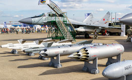 Bombs and missiles for the MiG fighter Stock Photo