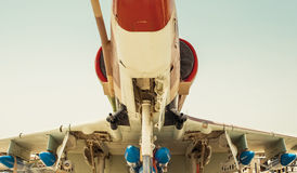 Bombs mounted under the wing of a fighter aircraft Royalty Free Stock Photography