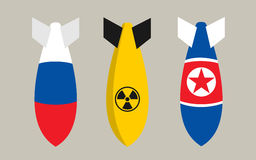 Bombs of Russia, North Korea and nuclear bomb. Flat design vector of falling bombs in colors of Russia, North Korea. Armed intervention and military attack by Stock Photography