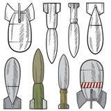 Bomby i skorupy vector set Zdjęcie Stock