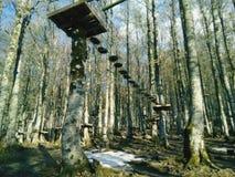 Bomen, bergen, land en aard een stap van paradijs stock fotografie