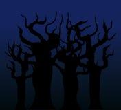 Bomen in de nacht - vectorbeeld Stock Afbeelding