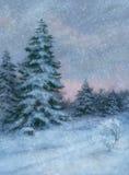 Bomen in de sneeuw royalty-vrije illustratie