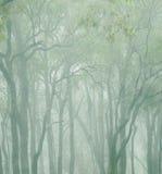 Bomen in de wolken stock afbeelding
