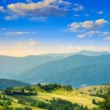 Bomen dichtbij vallei in bergen op helling Royalty-vrije Stock Afbeelding