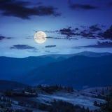Bomen dichtbij vallei in bergen op helling bij nacht Stock Afbeelding