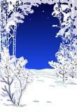 Bomen die met een sneeuw bij nacht worden behandeld Stock Foto
