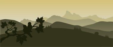 Bomen en bergen Stock Afbeeldingen